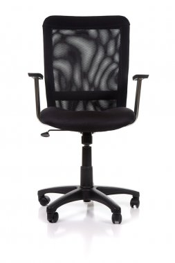 Image of a black mesh office chair isolated on white background stock vector