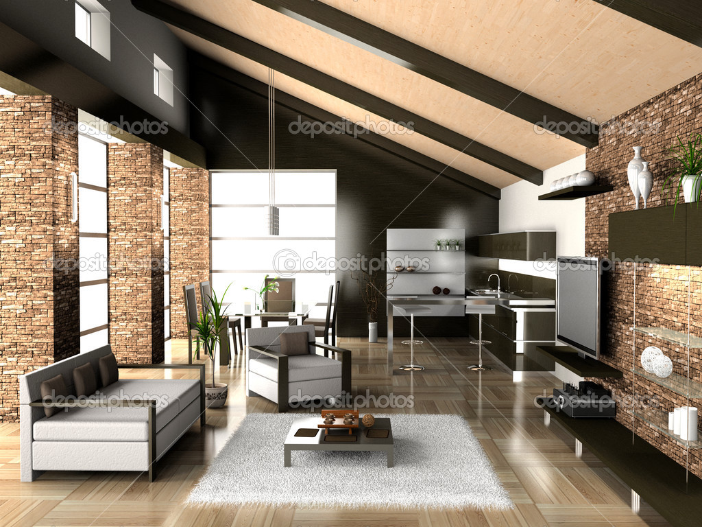 Living a room with a dining zone stock photo mak nt for Living room zones