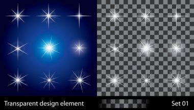 Set of transparent stars. Vector illustration for design. clip art vector