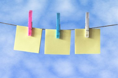 Post it Notes on Washing Line