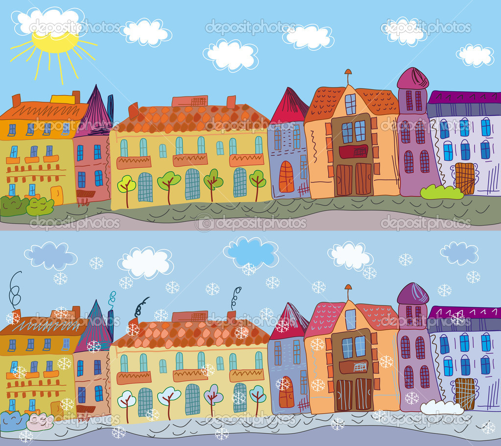 Town in summer and winter