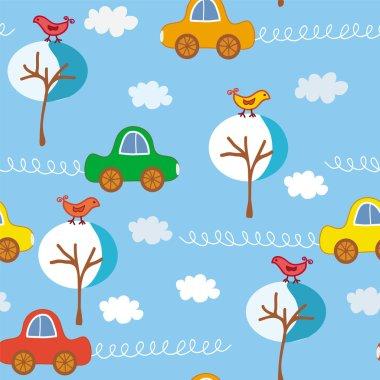 Seamless cute cars pattert