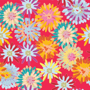 Bright seamless pattern with big flowers