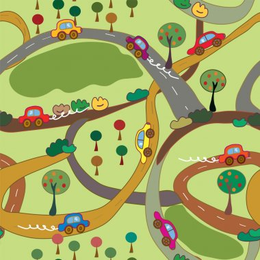 Cartoon seamless pattern with cars and roads