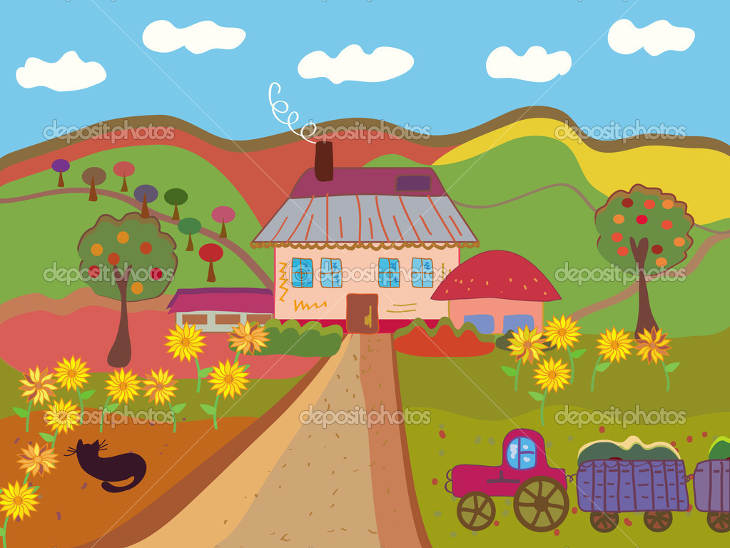 Quadro su tela illustrazione di cartone animato fattoria animali
