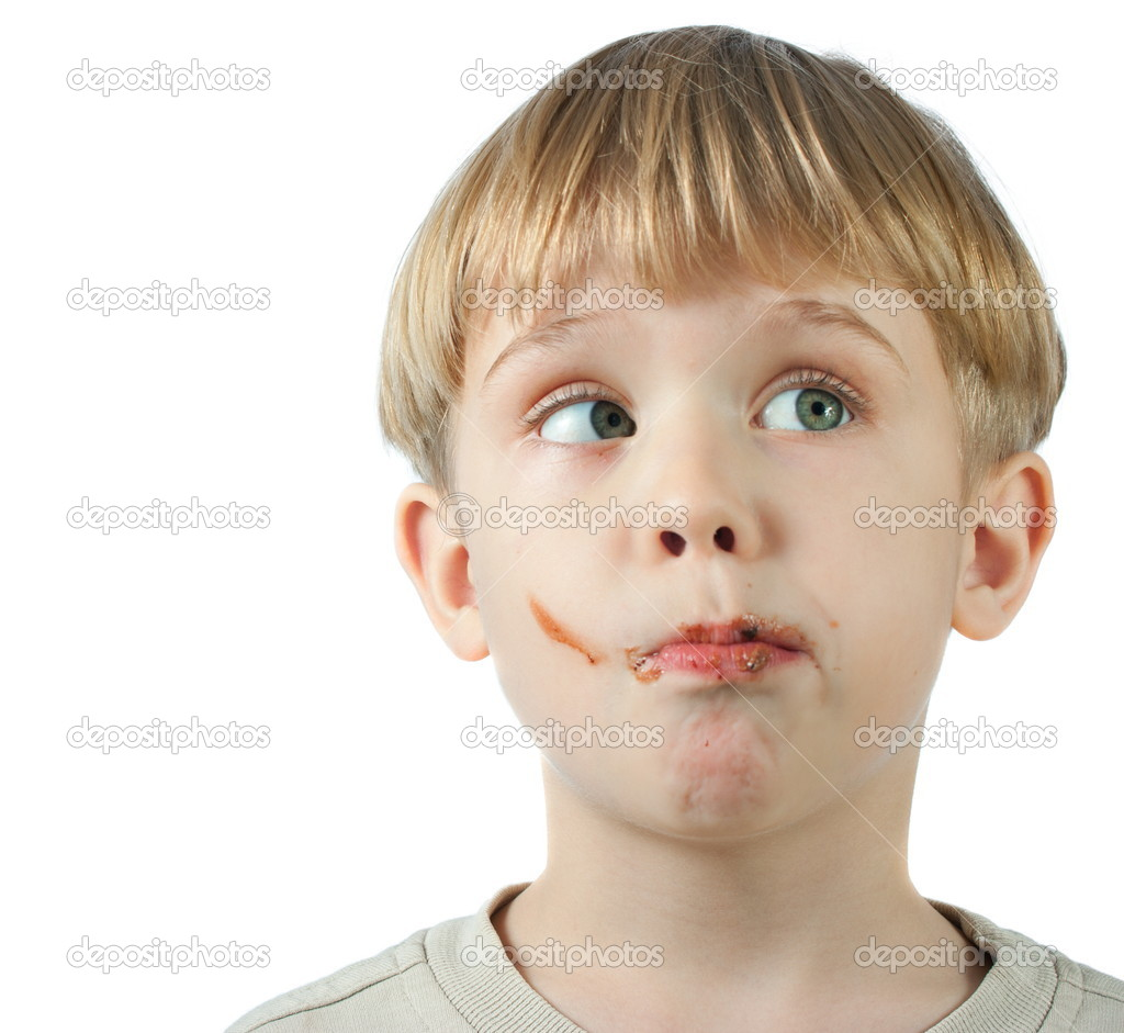 Cute boy with chocolate face — Stock Photo © Kirill #3007152
