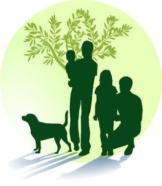Mutter, Vater, Kinder und Hund