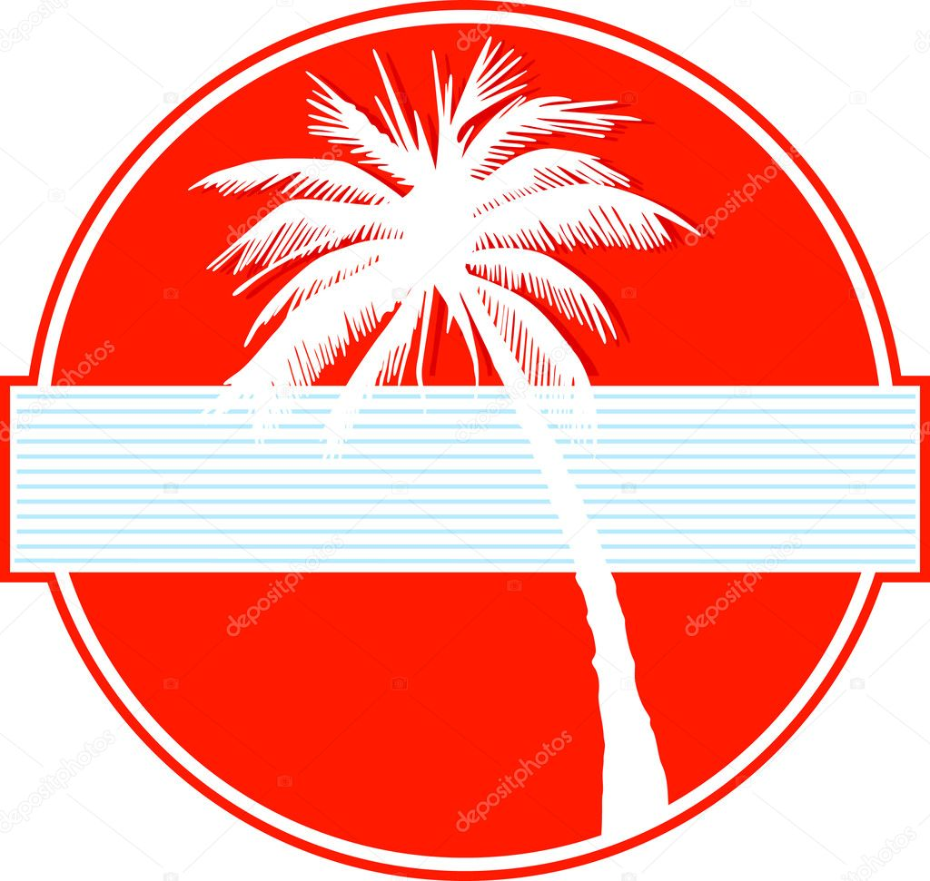 Palm tree on red
