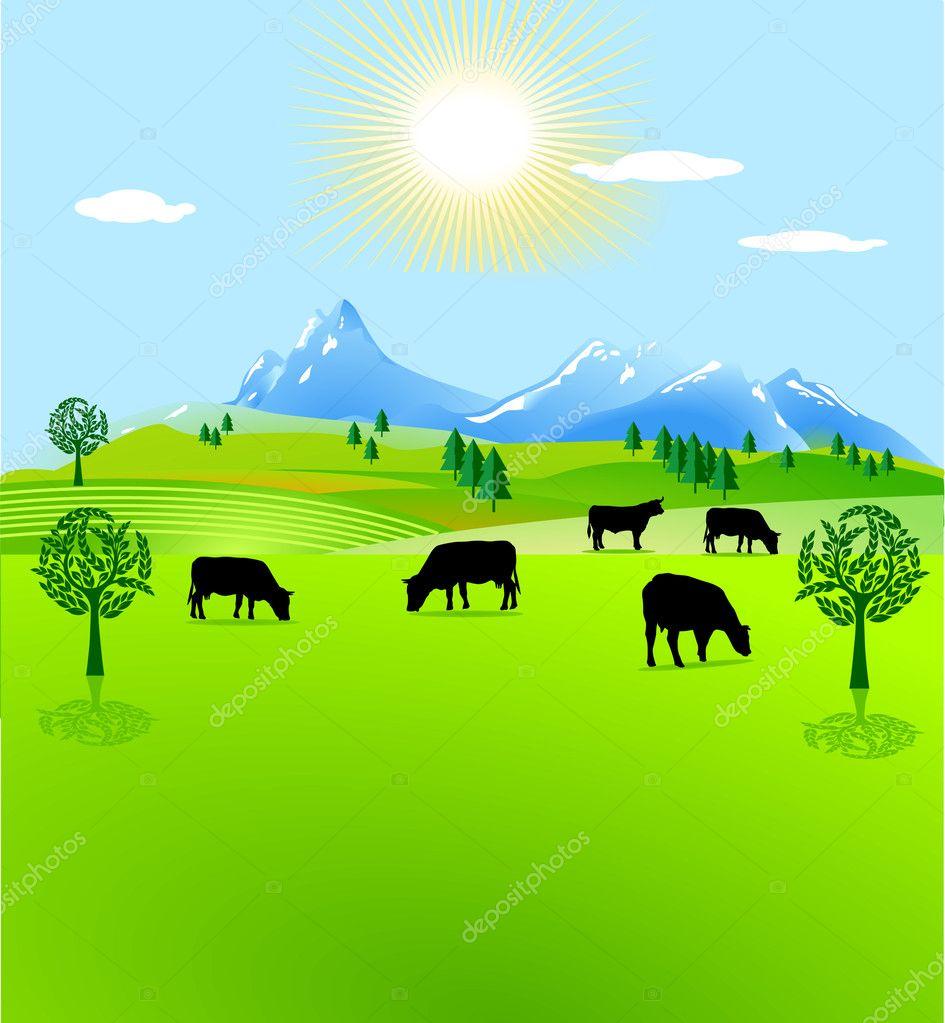 Рисунок коровы на лугу