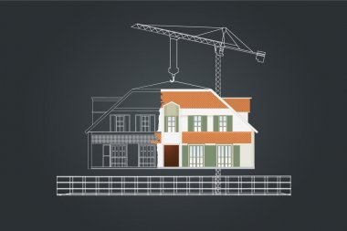 The house drawing - Vector illustration