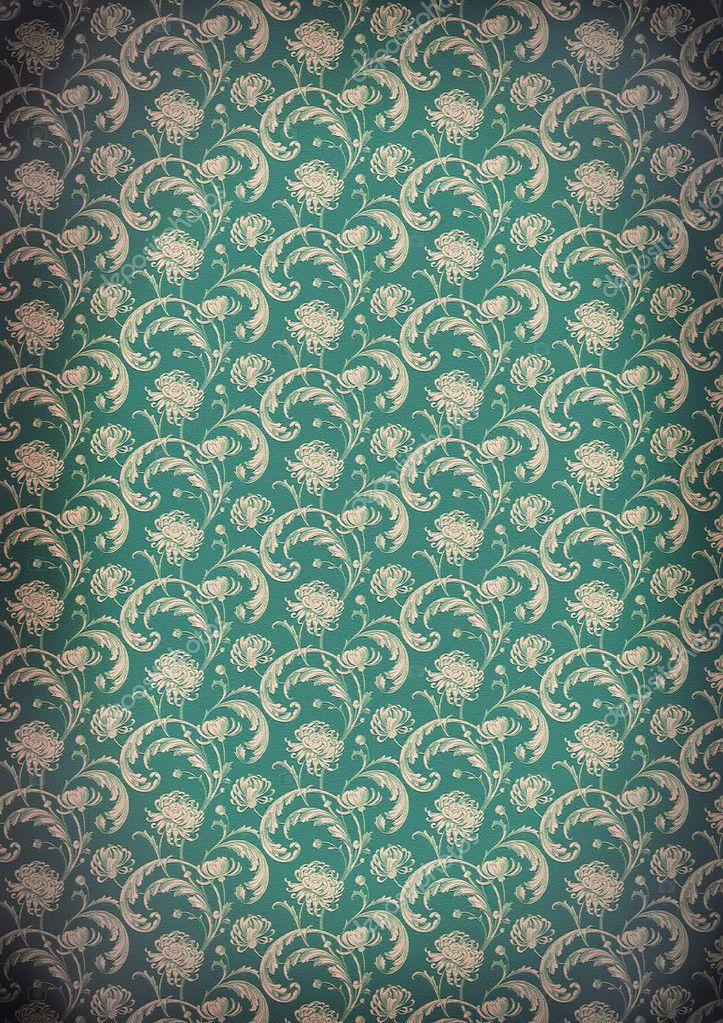 viejo papel pintado de estilo victoriano diseo patrn de crisantemo u foto de aelita