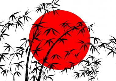 Flag of Japan and bamboo