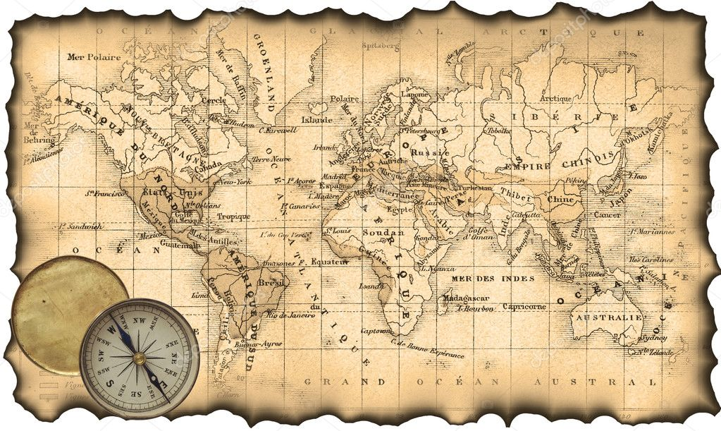 Ancient Map Of The World Compass Stock Photo Aelita - Us map with compass