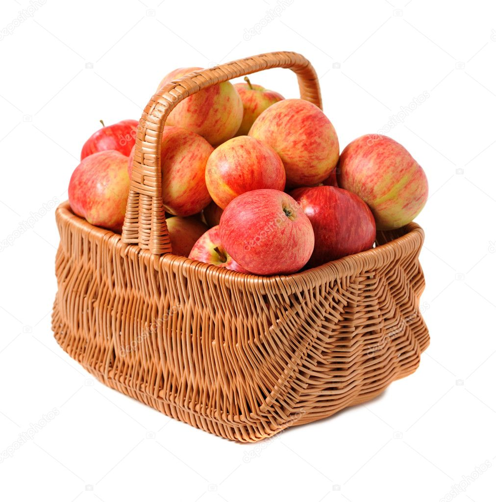 Apples in woven basket