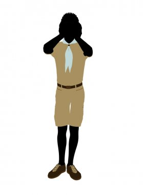 African American Boy Scout Illustration Silhouet
