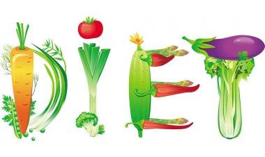 Word diet made of fresh vegetables
