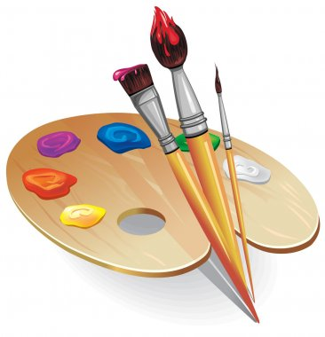 Wooden palette with brushes