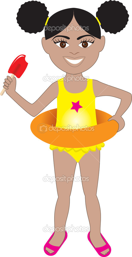 Afro Girl Swimsuit — Stock Vector © BasheeraDesigns #3718800