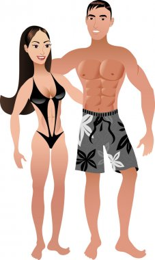 Vector Illustration. Fit Athletic Couple 2. clip art vector