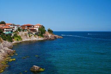 Summer beach on Bulgarian Black sea stock vector