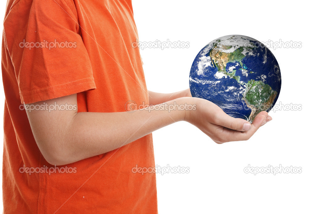 Hands cupping holding our planet Earth