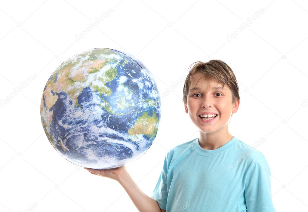 Smiling boy earth ball in palm of hands