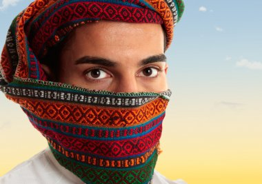 Arab man wearing keffiyeh