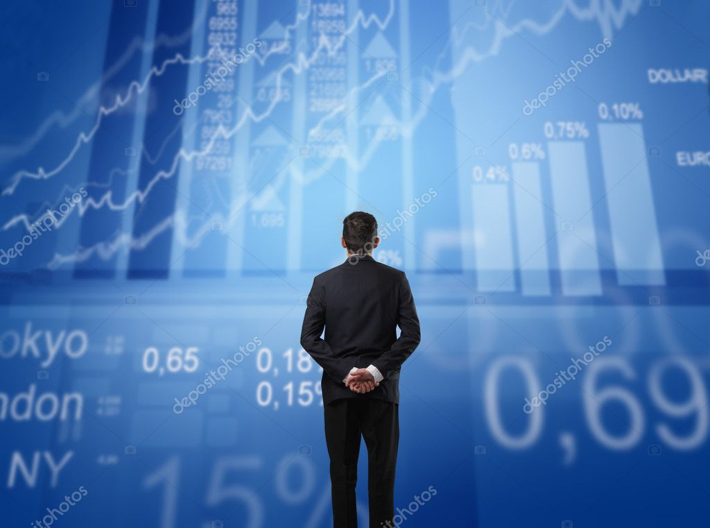 Businessman observing some exchange graphics in front of him stock vector