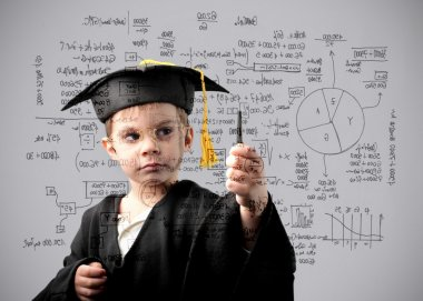 Child in graduate uniform writing some formulas stock vector