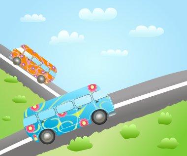 Cartoon bus routes