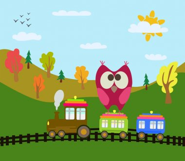 Cartoon train and owl