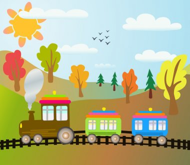 Cartoon train on autumn landscape stock vector