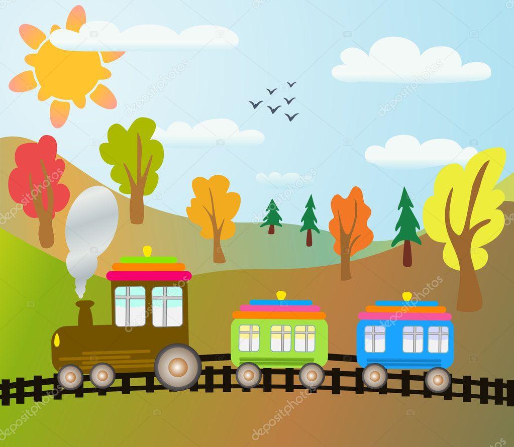 Cartoon train on autumn landscape stock vector