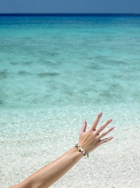 Hand with shell bracelet
