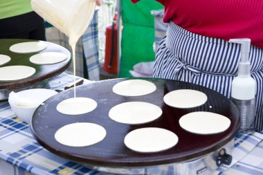 Pancakes, street market in Bergen, Norway stock vector