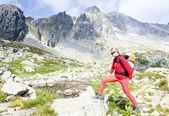 Fotografie Woman backpacker in High Tatras