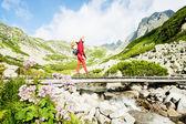 Frau Backpacker in der hohen Tatra