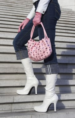 White boots with handbag