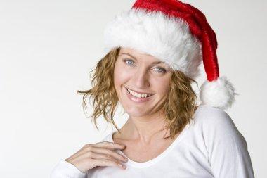 Woman's portrait - Santa Claus stock vector