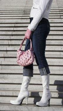 White boots with handbag
