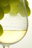 bílé víno a hroznovou