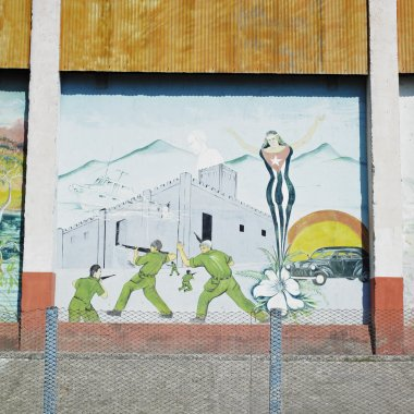 Political mural painting, Ceiba Hueca, Granma Province, Cuba