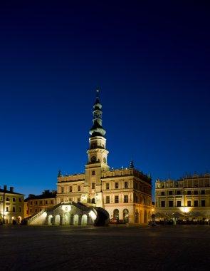 Town Hall at night, Main Square (Rynek Wielki), Zamosc, Poland