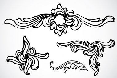 Set of swirly ornaments. Easy to edit. stock vector