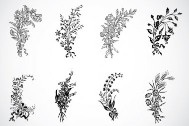 Set of highly detailed floral ornaments. Easy to edit. stock vector