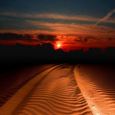 Trail in sand lighted on sunset