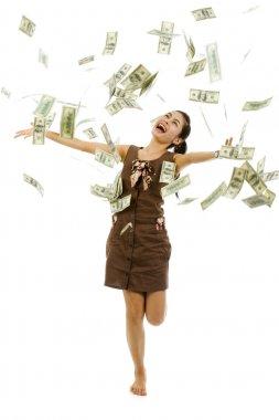 Pretty woman throwing money