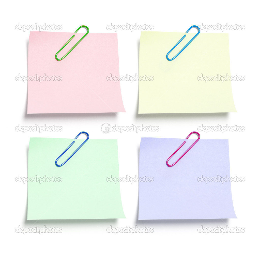 Post It Note Papers with Paperclips