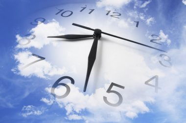 Composite of Clock and Cloudy Sky stock vector