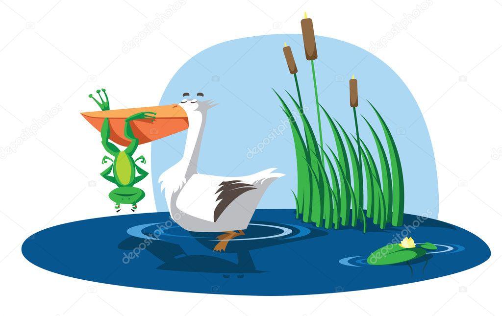 рисунок пеликан с лягушкой в пасти все любимое, дорогое